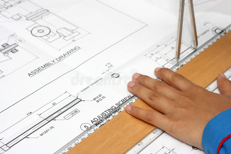 Download Hand With Technical Drawing Stock Image - Image: 21989503