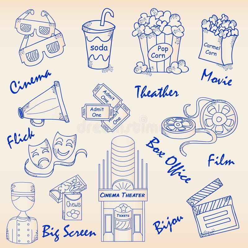 Hand tecknad filmsymbolsSet royaltyfri illustrationer