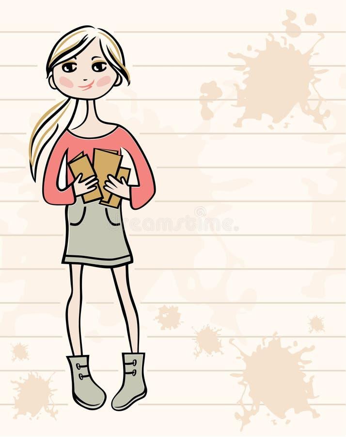 Hand tecknad flicka med böcker royaltyfri illustrationer