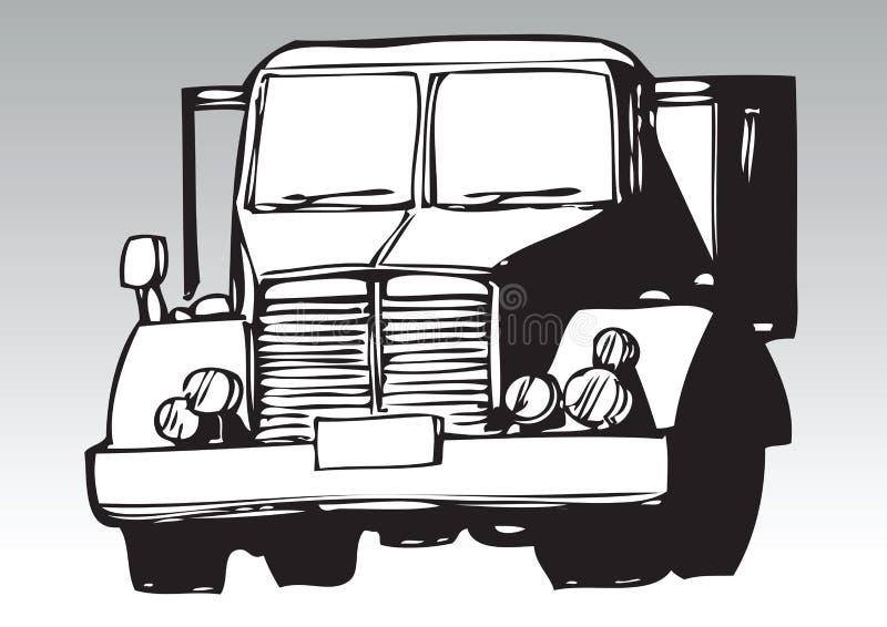 Hand tecknad lastbil stock illustrationer