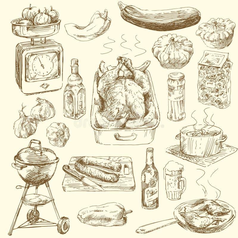 Hand tecknad mat royaltyfri illustrationer