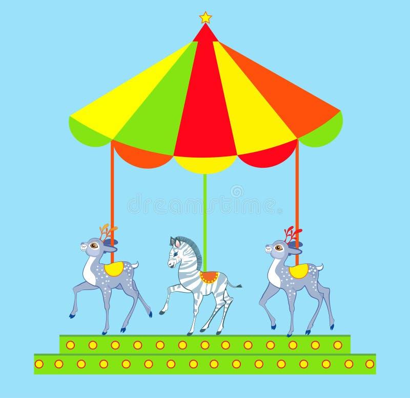 Hand tecknad merry-go-round vektor illustrationer