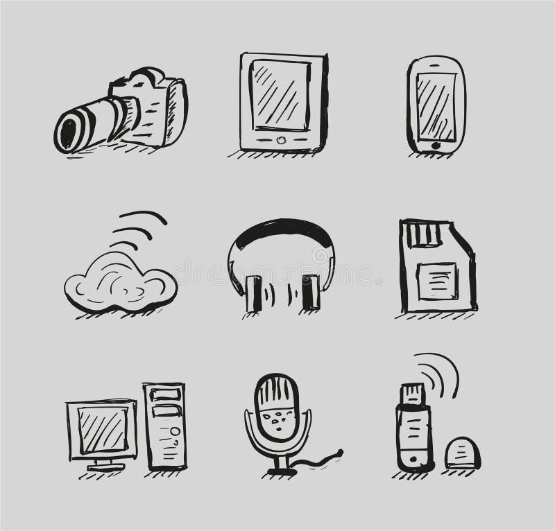 Hand tecknad mobil set för symbol för apparatvektorblack vektor illustrationer