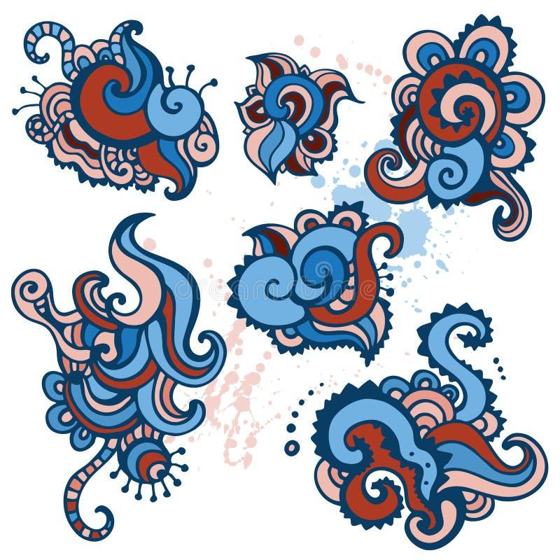 Hand tecknad Paisley prydnadset. royaltyfri illustrationer