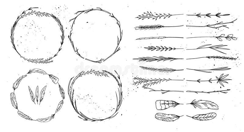 Hand tecknad vektorillustration Dekorativ samling för tappning vektor illustrationer