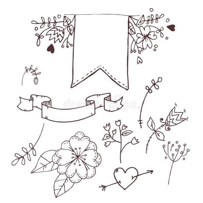 Hand tecknad vektorillustration Romantisk samling med band stock illustrationer