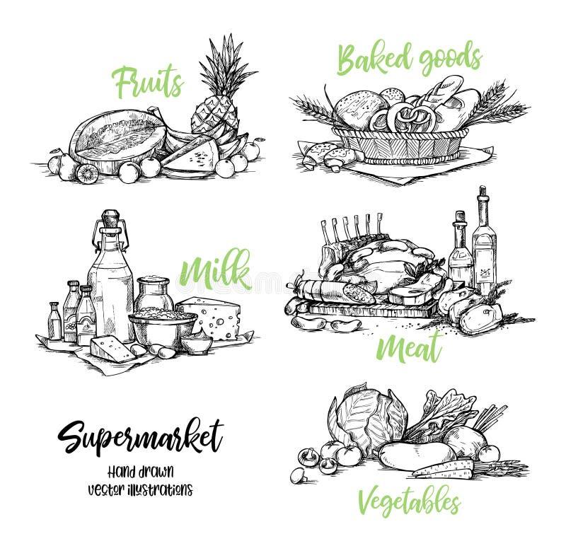 Hand tecknad vektorillustration Samling av supermarketproduc stock illustrationer