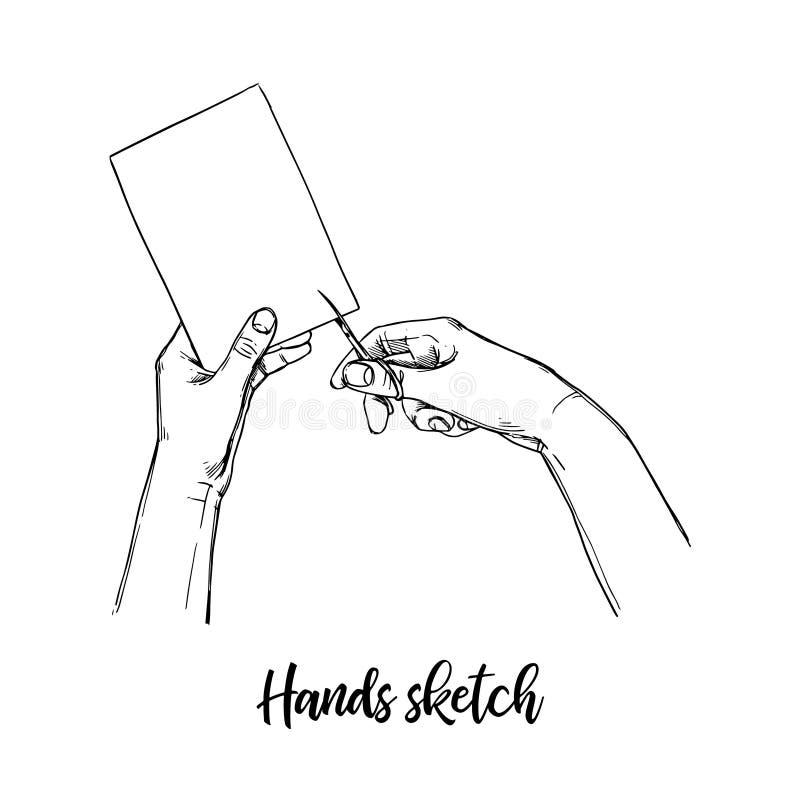 Hand tecknad vektorillustration Uppsättningen av handgester, man klipper p vektor illustrationer