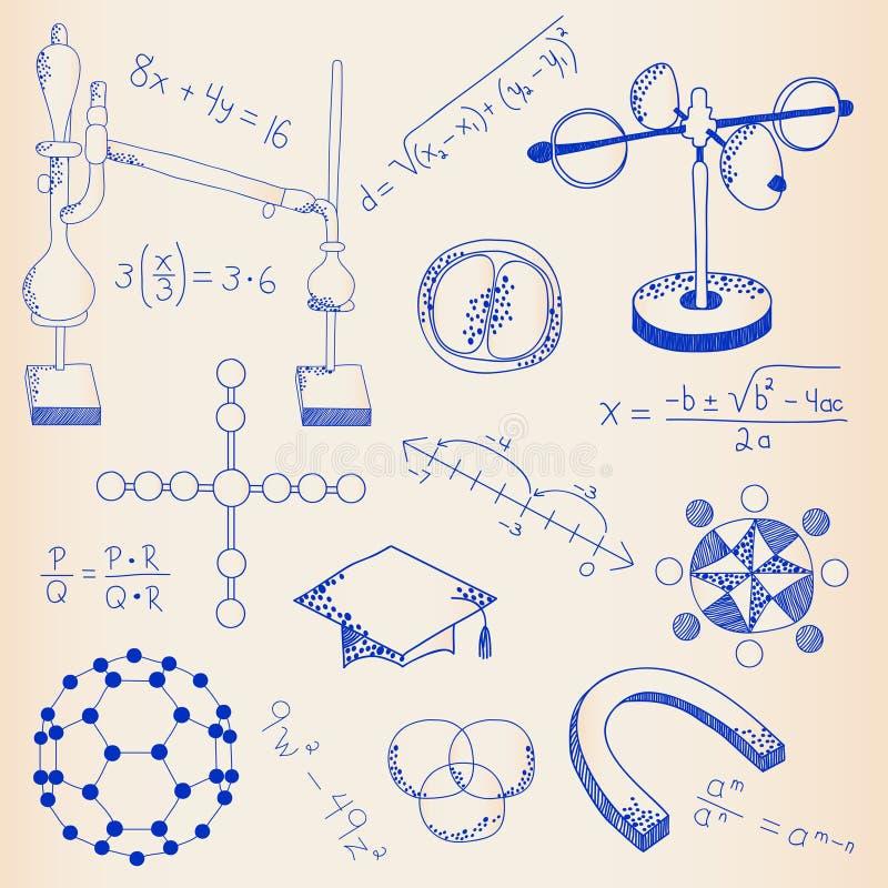 Hand tecknad vetenskapssymbolsSet vektor illustrationer