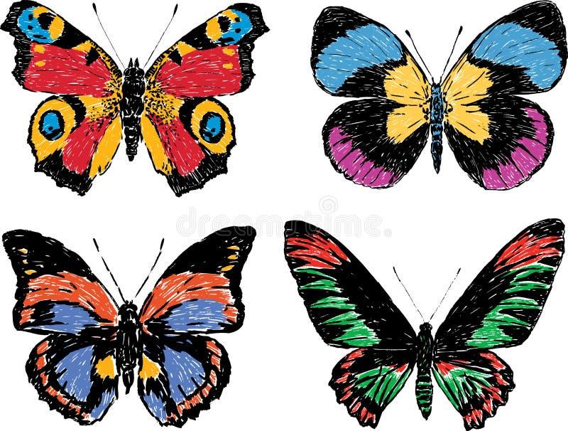hand tecknade fjärilar royaltyfri illustrationer
