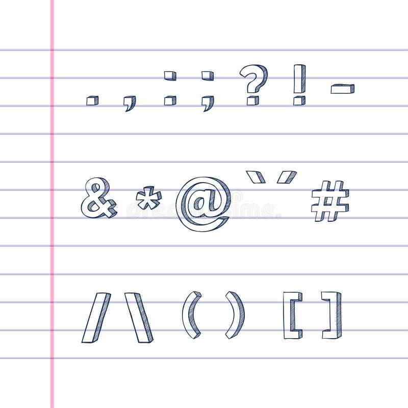 Hand tecknade textsymboler på fodrat papper vektor illustrationer
