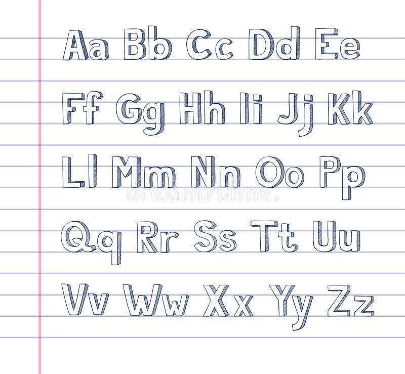 Hand tecknat alfabet på fodrat papper vektor illustrationer