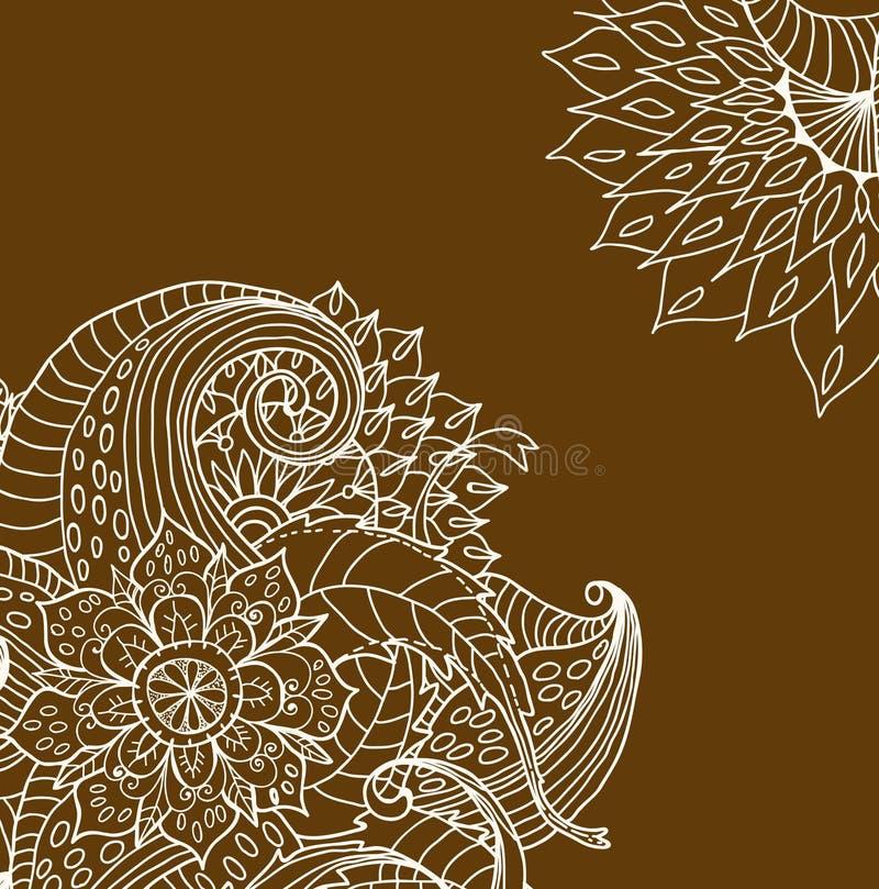 Hand Tecknat Blom- Kort Arkivbild