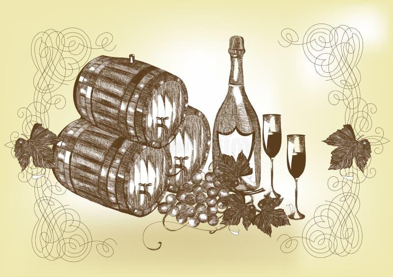Hand tecknat stilleben med wine och champagne stock illustrationer