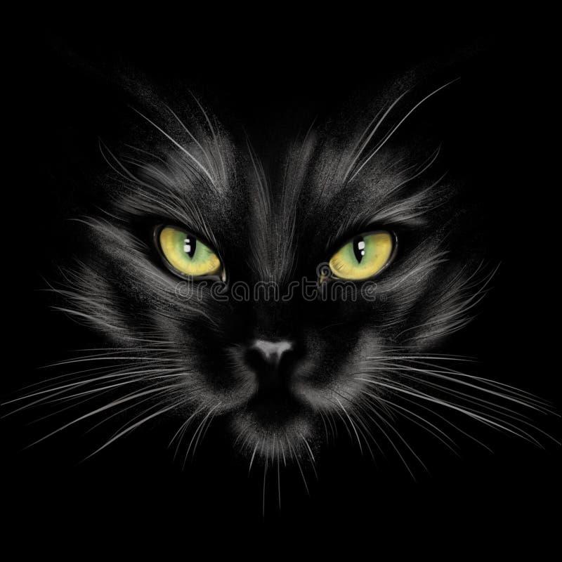 Hand-teckning stående av en svart katt arkivfoto