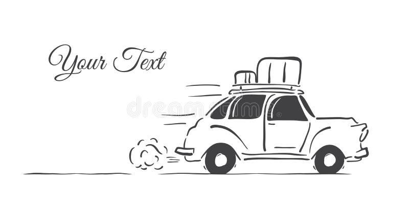 Hand-teckningen isolerade den retro bilen med bagage på taket på vit bakgrund vektor illustrationer