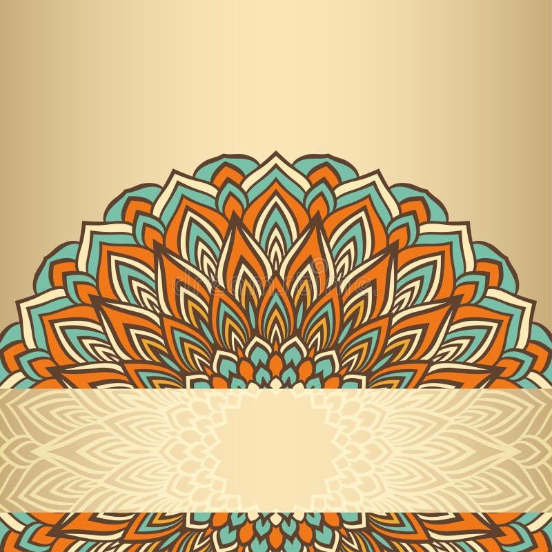 Hand-teckningen snör åt dekorativt blom- abstrakt begrepp rundan som isoleras på den mjuka guld- lutningen färgad bakgrund royaltyfri illustrationer