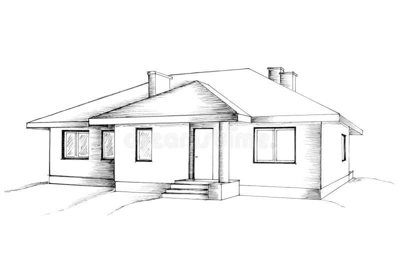 Hand tekening van het huis royalty-vrije illustratie