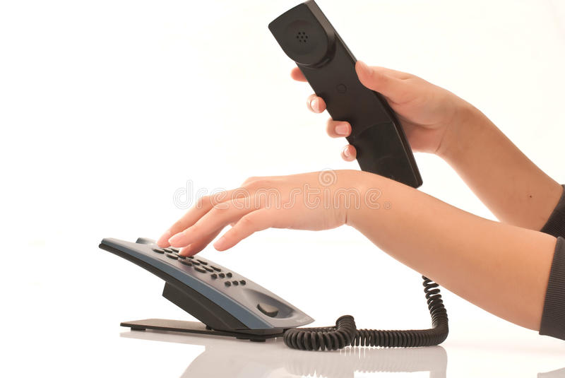Download Hand on telephone stock image. Image of office, black - 19020521