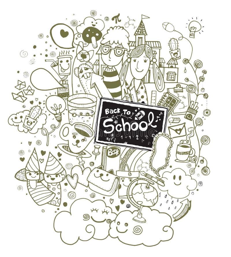 Hand terug naar de reeks die van de schoolkrabbel wordt getrokken royalty-vrije illustratie