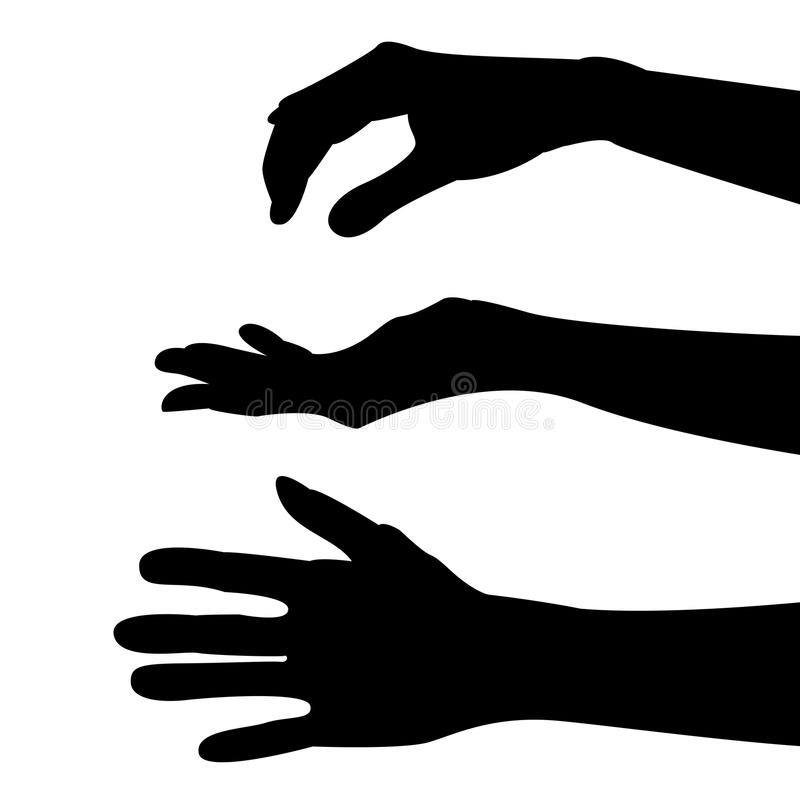 Hand. Three black silhouette hands for catch royalty free illustration