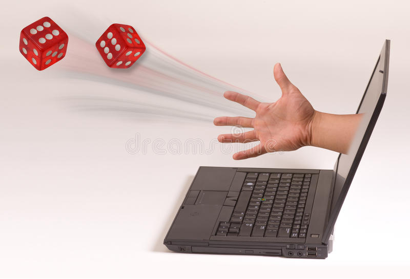 Hand throwing dice stock image