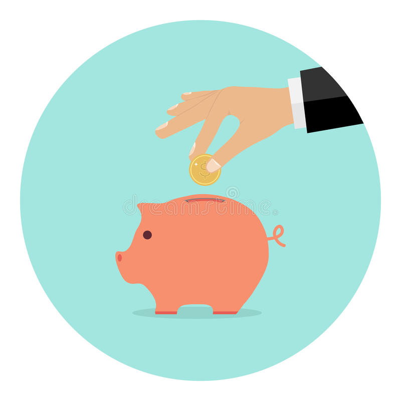 The hand throws a coin into the piggy bank stock illustration