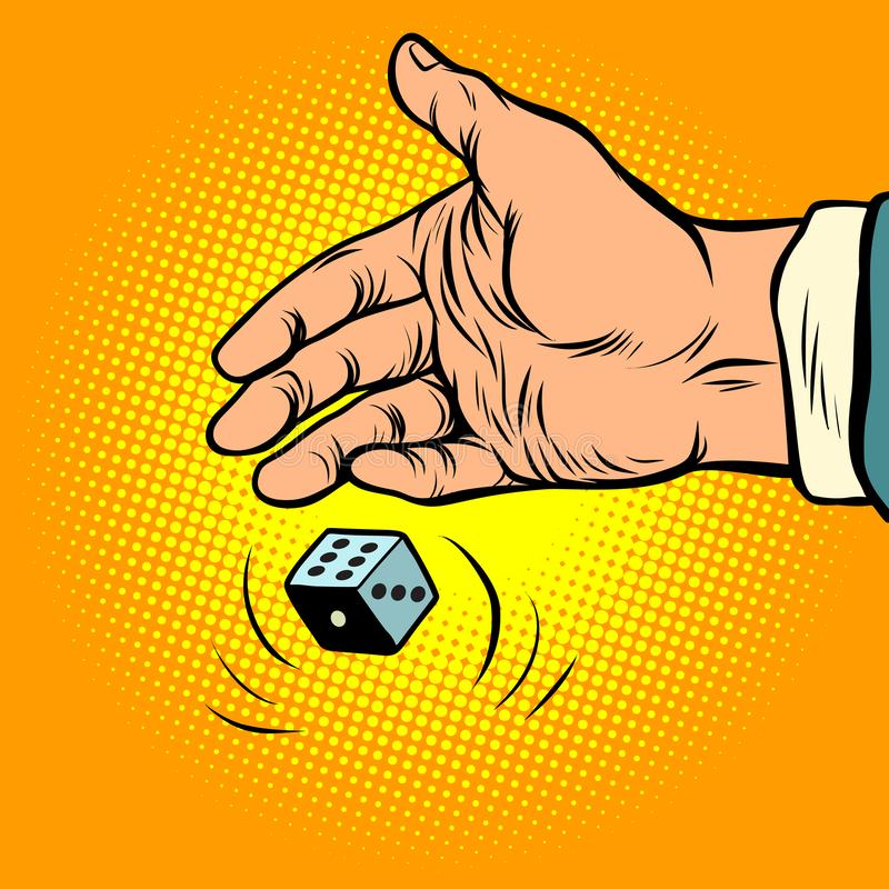 Hand throws dice. Comic cartoon pop art retro vector illustration drawing vector illustration