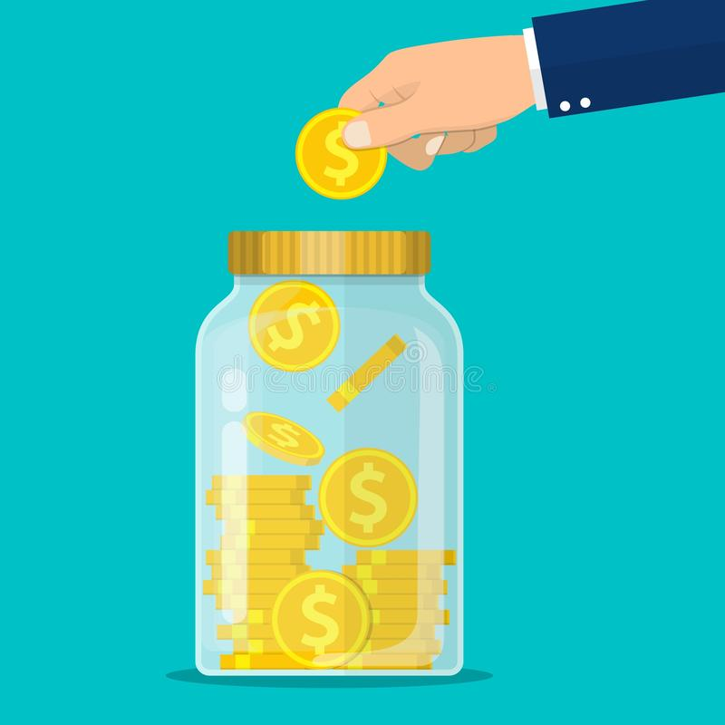 Hand throws a gold coin in the jar stock illustration