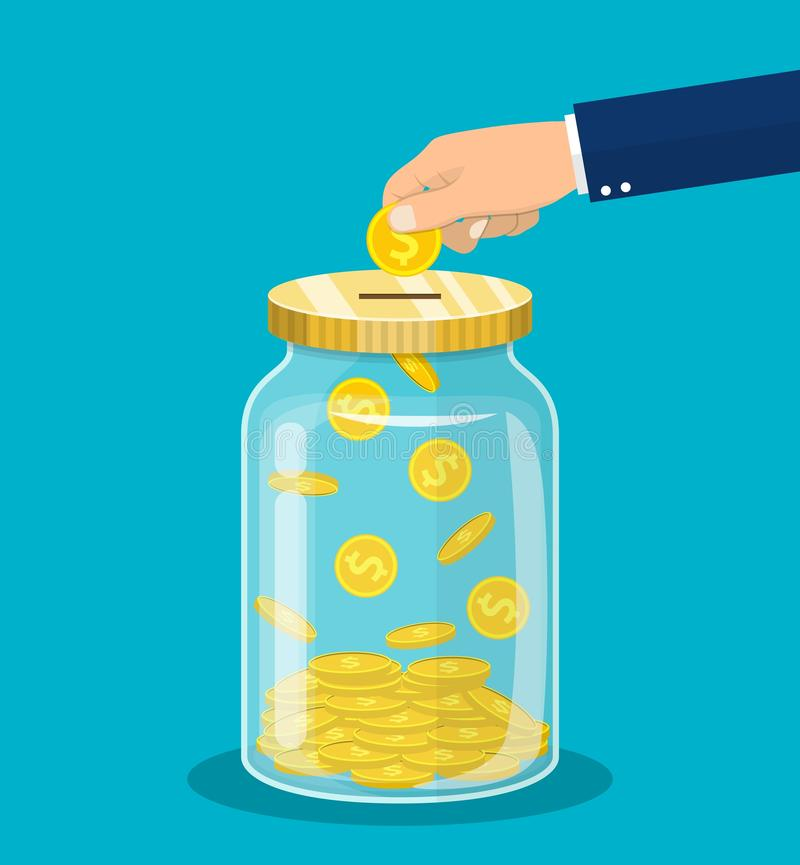 Hand throws a gold coin in the jar royalty free illustration
