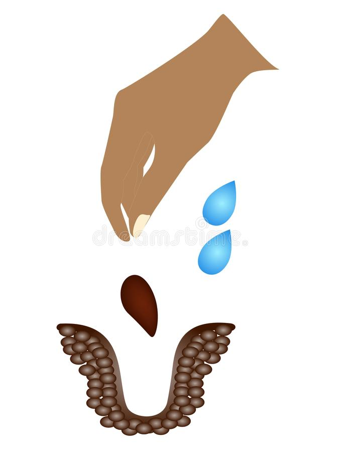 The hand throws the seed into the soil. vector illustration