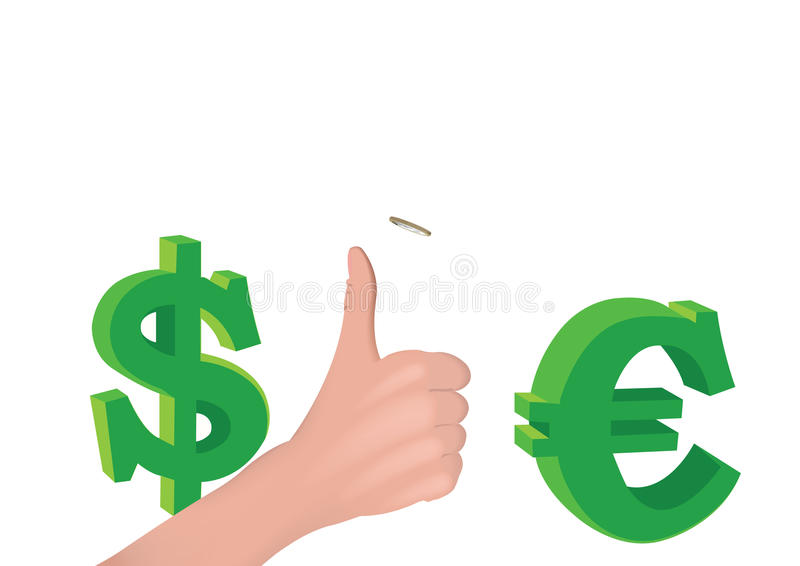 Hand thumb throws coin stock illustration