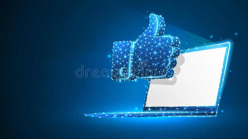 Hand Thumb Up gesture on white laptop screen. Business communication, approving, agreement concept. Abstract, digital vector illustration