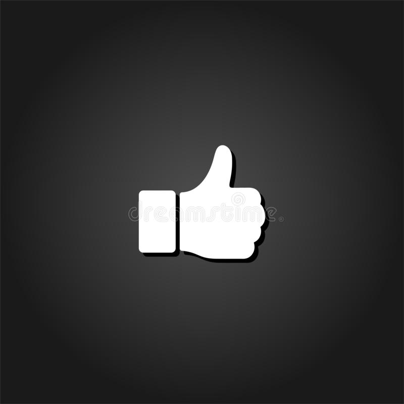 Hand Thumb Up icon flat. Simple White pictogram on black background with shadow. Vector illustration symbol royalty free illustration