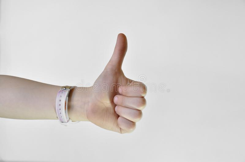 Hand with thumb up isolated on white background royalty free stock photography