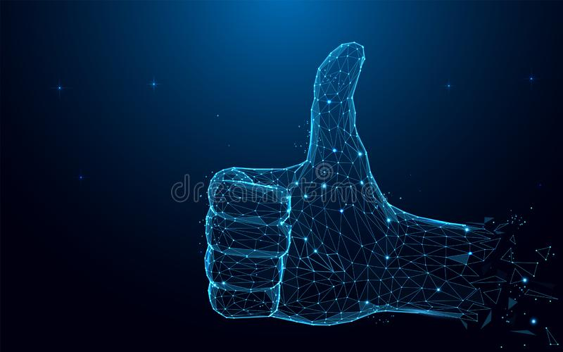 Hand with thumb up and like sign from particles, lines and triangles on blue background. Polygonal wireframe silhouette of a hand finger up. Mesh art, poly low stock illustration