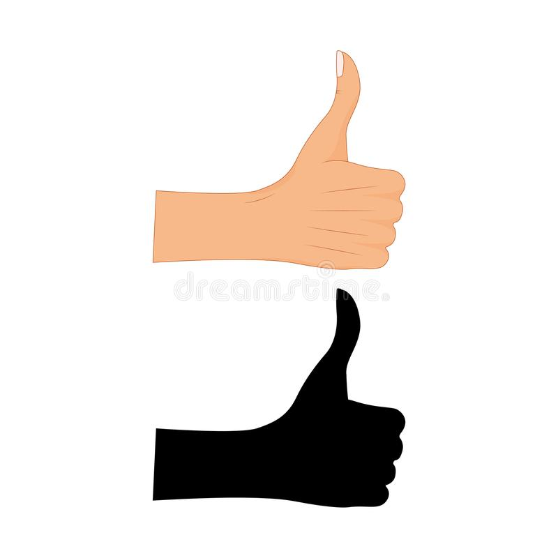 Hand thumb up sign with a black silhouette on a white background. Vector illustration. Positive feedback, good gestures royalty free illustration