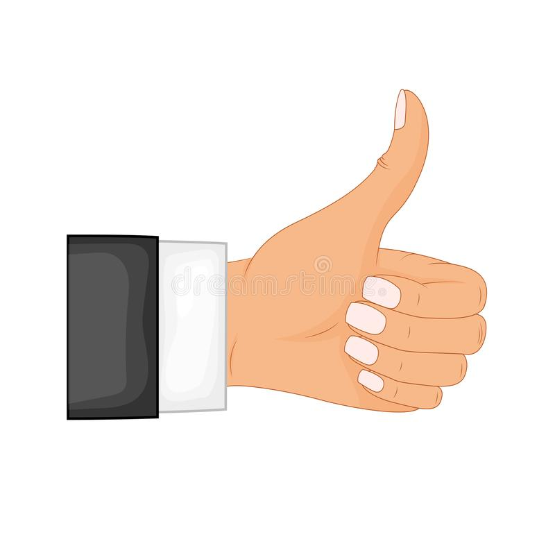 Hand thumb up sign on a white background. Vector illustration. Positive feedback, good gestures, like. Flat style vector stock illustration