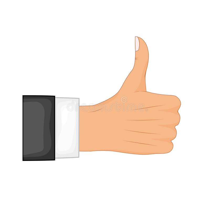 Hand thumb up sign on a white background. Vector illustration. Positive feedback, good gestures, like. Flat style vector royalty free illustration