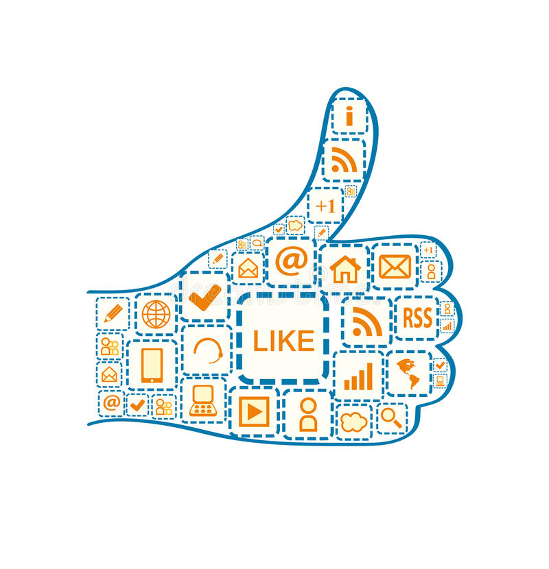 Hand with Thumb up and Social Media Square Icons. Illustration Isolated on White Background stock illustration