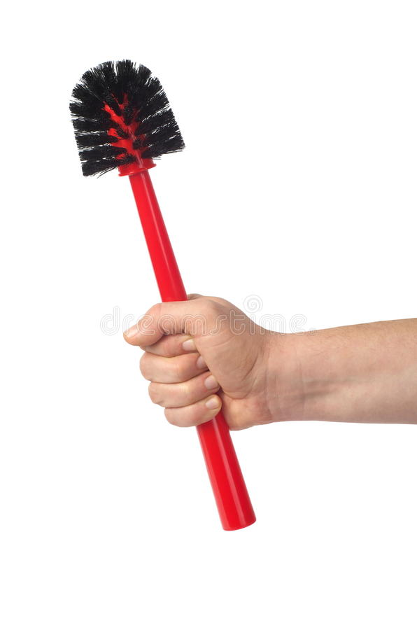 Hand with Toilet Brush stock photo