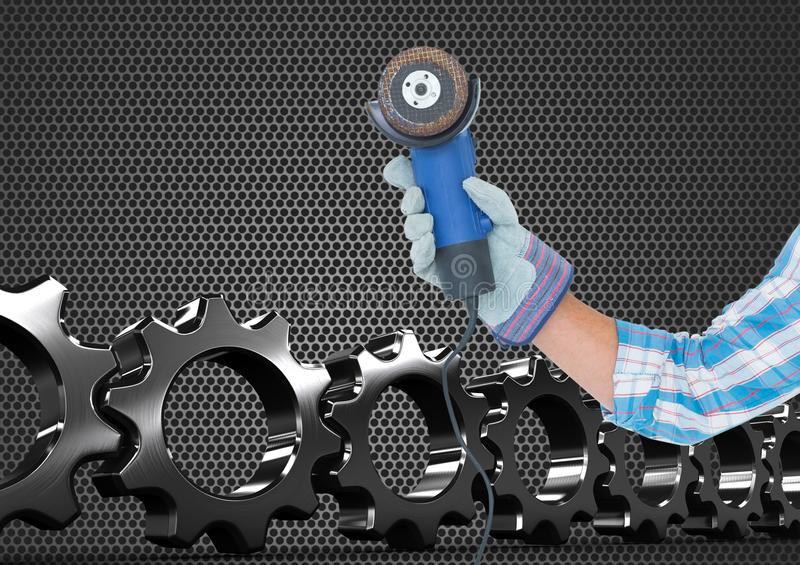 hand with tool with metal and cogs background royalty free illustration