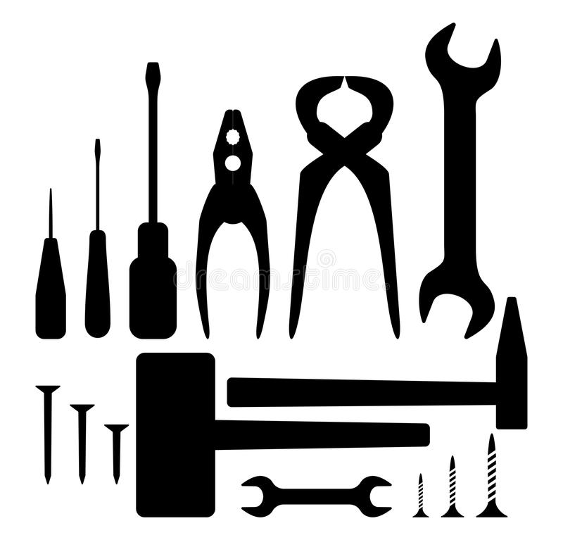 Hand tool silhouette set stock vector. Illustration of ...