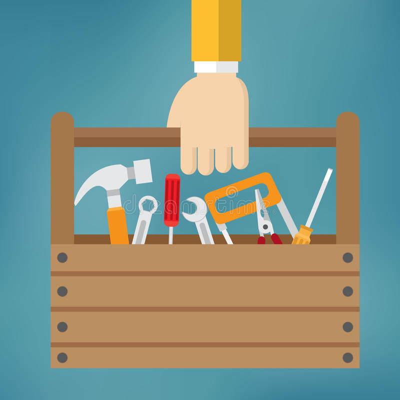Hand with toolbox. royalty free stock photo