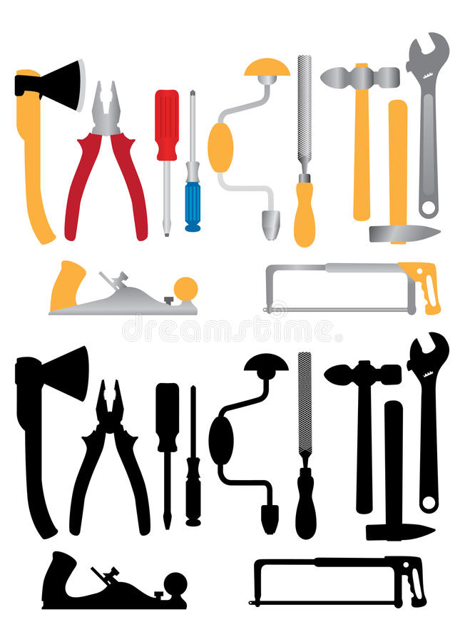 Download Hand tools stock vector. Image of jointer, isolated, electrical - 19822872