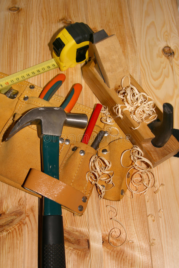 Hand tools. Joiner's manual tools for work with a tree royalty free stock photo