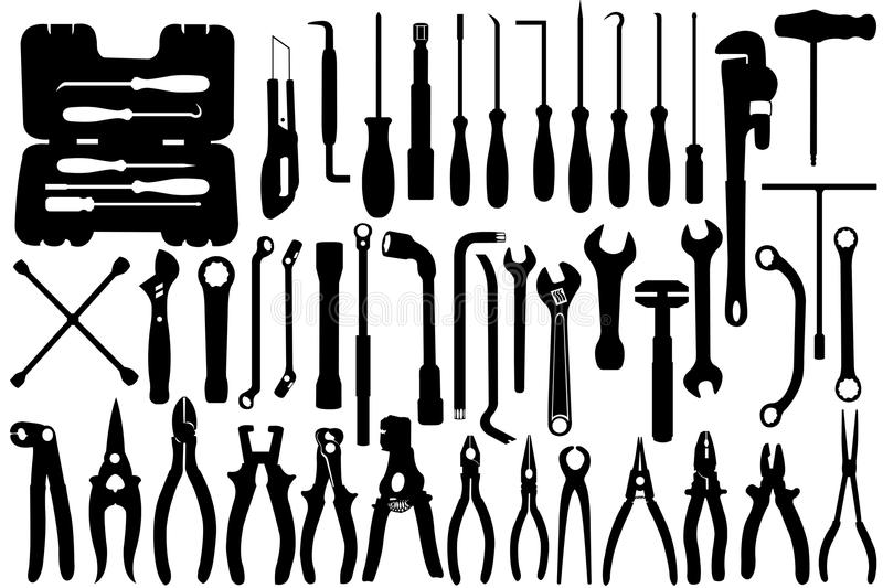 Hand Tools. Isolated on white vector illustration