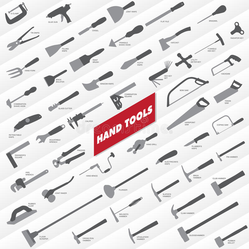 Hand Tools Collection. A selection of two-tone hand tool icons vector illustration