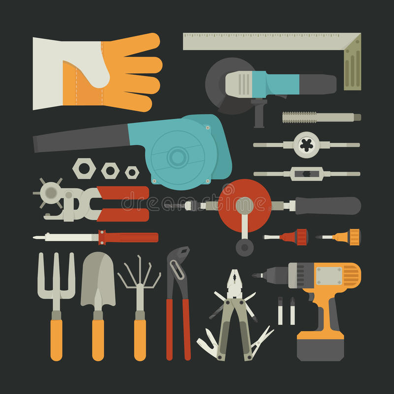 Download Hand Tools Icon Set , Flat Design Stock Vector - Illustration of iron, metallic: 39511508