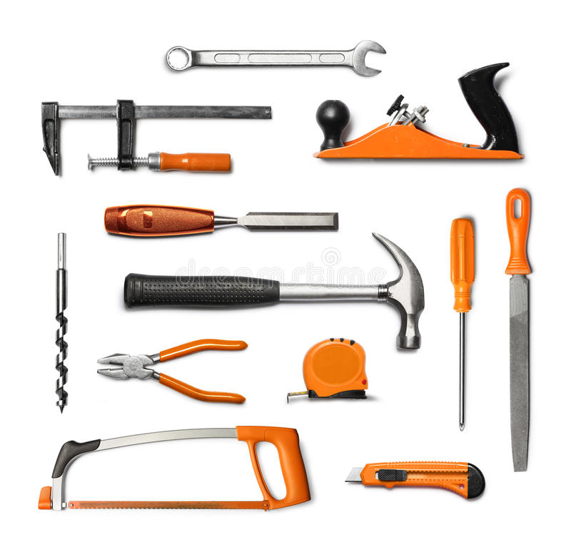 Hand Tools Kit Isolated Royalty Free Stock Image